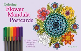 Coloring Flower Mandala Postcards by Wendy Piersall