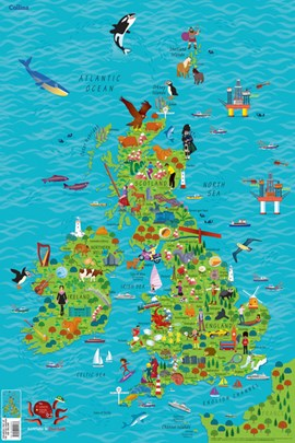 Children's Wall Map of the United Kingdom and Ireland by Collins Maps