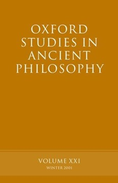 Oxford studies in ancient philosophy. Vol. 21 Winter 2001 by David Sedley