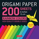 "Origami Paper 200 sheets Rainbow Colors 6"" (15 cm)"