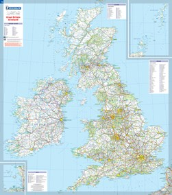 Great Britain & Ireland - Michelin rolled & tubed wall map Paper by