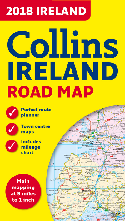 Road Map Of Ireland Counties.2018 Collins Map Of Ireland Collins Maps