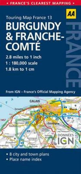 Road Map Burgundy & Franche-Comte by AA Publishing