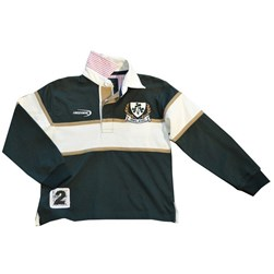 BOTTLE GREEN AND NATURAL COTTON LONG SLEEVE IRELAND KIDS RUGBY SHIRT 5/6