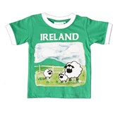 EMERLAD GREEN WHITE RINGER SHEEP COTTON IRELAND  KIDS TSHIRT 3/4