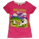 CERISE PINK COTTON IRELAND SHEEP FRILLY GIRLS TSHIRT 9/10