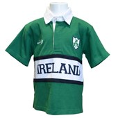 POWER GREEN COTTON KIDS IRELAND SHORT SLEEVE RUGBY SHIRT 9/10
