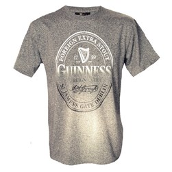 GREY SPECKLED COTTON POLYESTER GUINNESS STAMP PREMIUM TSHIRT LARGE