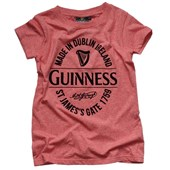 RED SPECKLED COTTON POLYESTER GUINNESS STAMP PREMIUM LADIES TSHIRT SMALL