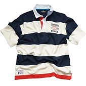 NAVY AND CREAM SRTIPE COTTON GUINNESS RUGBY SHIRT MEDIUM