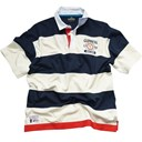 NAVY AND CREAM SRTIPE COTTON GUINNESS RUGBY SHIRT XLARGE