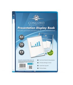 A4 20pkt Blue Presentation Display Book #