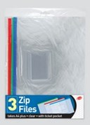 Zip Files A4 W/Ticket Pkt 3 Pack