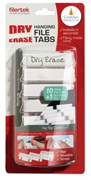 Pack 10 White Dry erase Suspension File tabs with pen