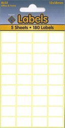 White Labels 12 x18mm                              (180 labels)
