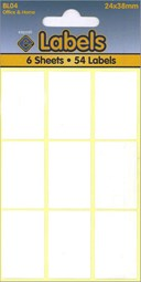 WHITE LABELS 24X38MM   6 SHEETS