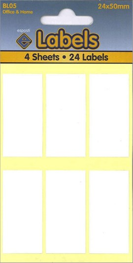 WHITE LABELS 24X50MM   4 SHEETS
