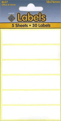 WHITE LABELS 18X76MM 5 SHEETS