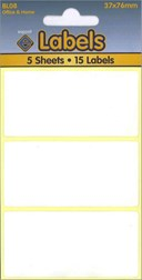 WHITE LABELS 37X76MM   5 SHEETS