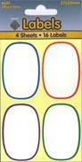 WHITE LABELS 37X55MM OVAL 4 SHEETS