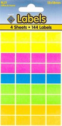 COLOURED LABELS 12X18MM   4 SHEETS