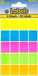 Coloured Labels 18 x 22mm                         (80 labels)