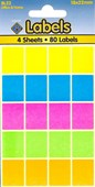 COLOURED LABELS 18X22MM   4 SHEETS
