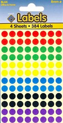 COLOURED LABELS ASSTD DOTS 8MM   4 SHEETS
