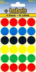 Coloured Labels Assorted 18mm Dots                             (96 dots)