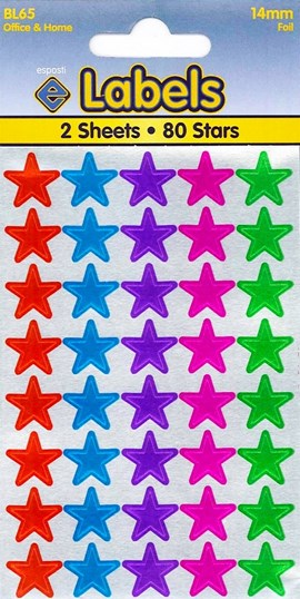 ASSORTED FOIL STARS 14MM   2 SHEETS