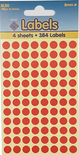 COLOURED LABELS RED DOTS 8MM   4 SHEETS