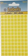 COLOURED LABELS YELLOW DOTS 8MM   4 SHEETS
