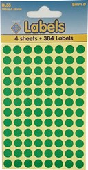 Coloured Labels Green 8mm Dots                             (384 dots)