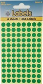 COLOURED LABELS GREEN DOTS 8MM   4 SHEETS