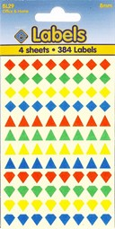COLOURED ASSTD SHAPES 8MM   4 SHEETS #