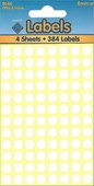 WHITE LABELS 8MM DOTS   4 SHEETS