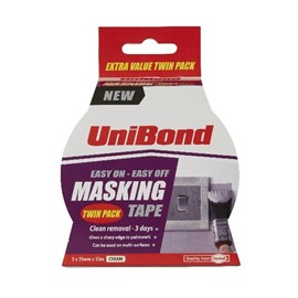 UNIBOND 25mm x 25m MASKING TAPE EASY ON/OFF TWIN PACK