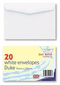 20 Pack Duke White Gummed Envelopes