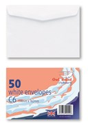 Owl Brand White Gummed Envelopes - Size C6 (Pack of 50)