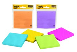 Post-it Neon 90 sheet Super Sticky Lined pad-Asst Colours