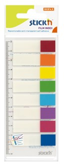 8 colour Film Index Printed tabs 45 x 12mm -15 sheets per pa