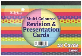 6 x4   Pack 48 Revision Cards Asst Colours x 4   glue bound.