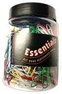 Essentials Large Assorted Colour Paper Clips Tub of 500