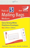 5 Pack Medium Mailing Bags Hang Pack Owl Brand