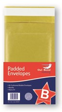 Owl Brand Manilla Padded Envelopes - Size: B/2 (Pack of 4)