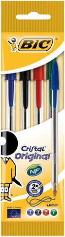 BIC Cristal Original Assorted ballpoint pen pouch of 4