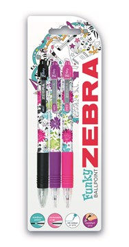 Zebra Grip Floral Ballpen Smooth Ink 3 Pack Asstd