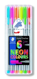 6 Assorted Triplus Fineliner Neon Colour