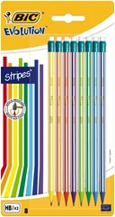 BIC Evolution Stripes with eraser assorted blister of 8