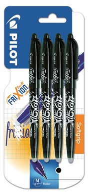 Pilot Black Frixion Erasable Quad Pack Carded